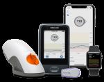 Dexcom G6 inserter, receiver, transmitter, phone, and watch